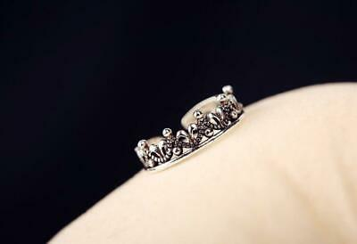 Vintage Style Beautiful Royal Crown 925 Sterling Silver Adjustable Ring Crown Style 925 Silver Ring