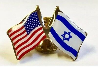 SUPPORT ISRAEL USA Friendship Flag Lapel pin  *MADE IN USA*  Patriotic hat tack - Usa Flag Pin