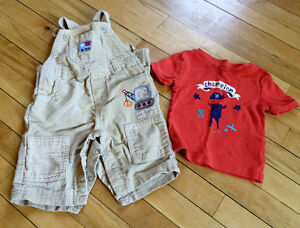 Cute Cord Overalls & T Shirt - 3-6 Months