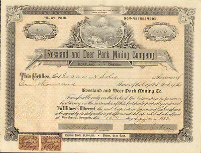 1899 Rossland and Deer Park Mining Company > Portland Oregon stock certificate