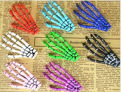 2x Women Halloween Punk Hairpin Zombie Skeleton Hand Bone Claw Horror Hair - Halloween Skeleton Hair