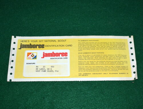 BOY SCOUT - 1977 JAMBOREE IDENTIFICATION CARD