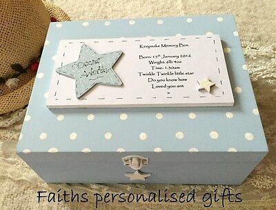 **BABY/CHILDRENS  PERSONALISED BIRTH/CHRISTENING GIFT KEEPSAKE MEMORY WOODEN BOX