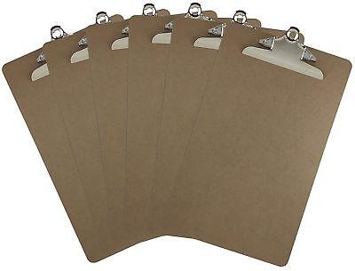 Legal Size Clipboard 9 X 15.5 Standard Metal Clip Hardboard Pack Of 6