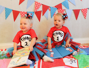 Dr Seuss twins photoshoot outfits