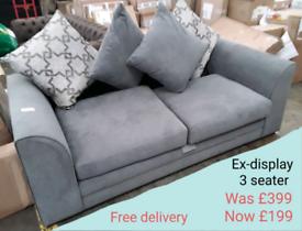 Ex-display 3 seater grey sofa