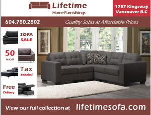 NEW,BEAUTIFUL,COMFY,AFFORDABLE Charcoal Linen Fabric Sectional