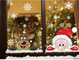 Christmas Santa and Rudolph Window Stickers NEW