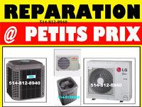 Réparation thermopompe chauffage fournaise AC 514 / 812- 8940