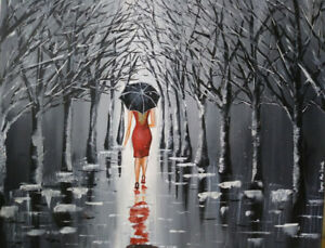 Beautiful painting of a lady on a rainy day