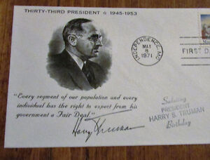1971 HARRY S. TRUMAN 8 Cent First Day Cover Kitchener / Waterloo Kitchener Area image 2