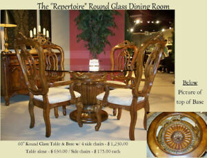 Elegant Dining Table With Pedestal Glass Top Table