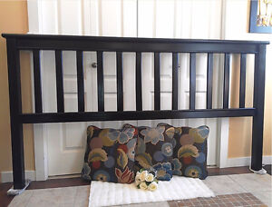 Black Beauty KING Bed! Refinished Tall Mission Headboard