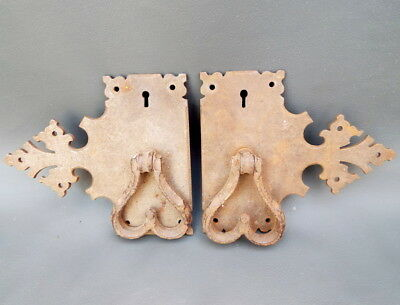 Vintage pair of ornate iron cabinet door handles with back plates and key holes