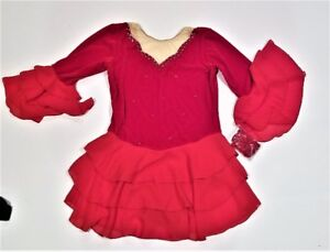 NEW - RED FIGURE SKATING DRESS WITH CRYSTALS