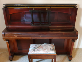 Vintage upright Piano by J & J Hopkinson of London with stool