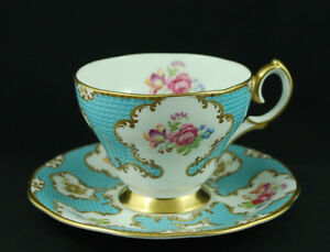 1950's Queen Anne Lady Eleanor Sky Blue Cameo & Gold Teacup Set