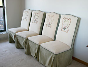 Four Upholstered Dining Chairs in Light Green, Highbacks