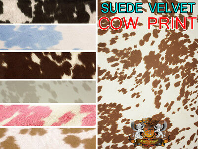 "Suede Velvet Cow Print Fabric Udder Madness Upholstery 58"" Wide Sold By the Yard"