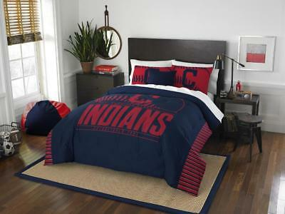 "Cleveland Indians ""Grand Slam"" Full/Queen Comforter & Shams Set OFFICIAL MLB"