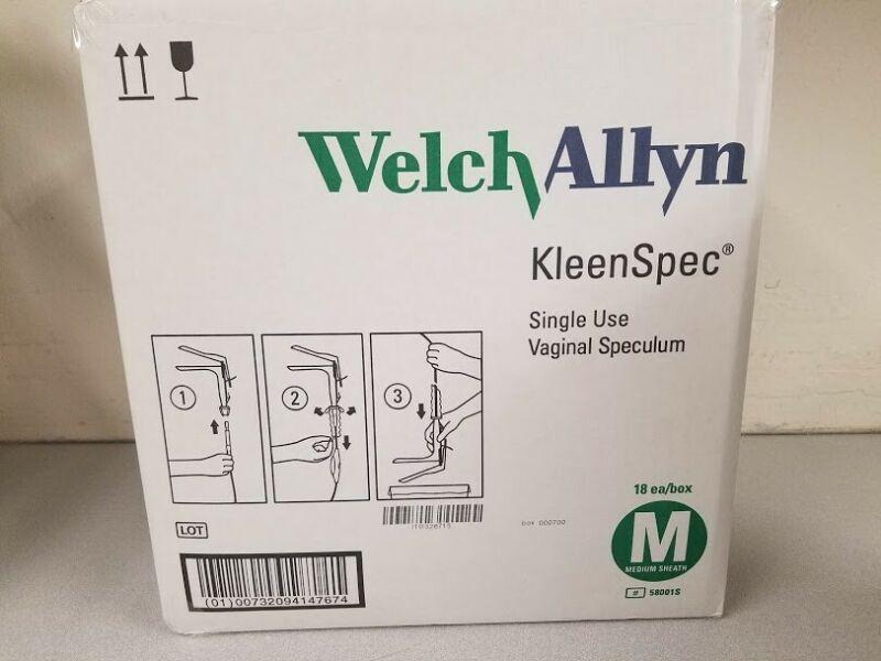 Welch Allyn Kleenspec Vaginal Speculum Box of 18 #58001S Medium Sheath NEW