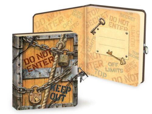 Keep Out Lock & Key Diary - Boys/Kids Safe Notebook Lined Page Art Book Journal