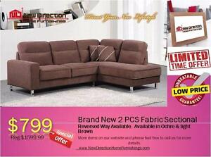 Brand New 2 PCs Fabric Sectional on Sale@New Direction Home Furnishings