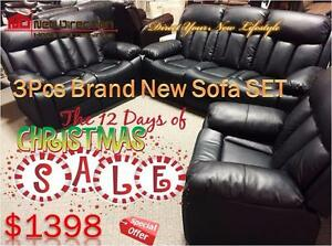Boxing Week Sale Extended-Brand New 3pcs Bonded Leather Recliner Set Blowout@New Direction Home Furnishings