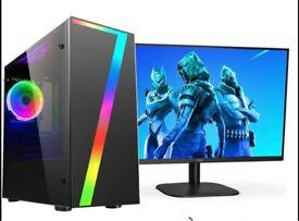 "Fast Gaming PC Bundle 19"" Screen Quad Core i5 16GB RAM 1TB HDD Win10 GT 1030"