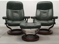 Ekornes Stressless 2 x swivel recliner Green leather chairs and Stool 1712207