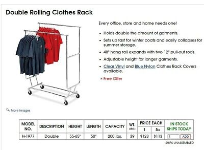 Heavy Duty Commercial Collapsible Clothing Double Rolling Rack Qty 9