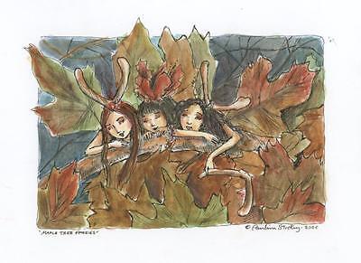 FAIRY PAULINA CASSIDY AUTUMN FOLIAGE MAPLE TREE FAIRIES ORIGINAL ART PAINTING