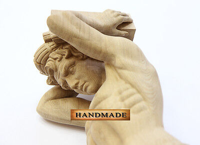 "41"" Atlant Corbel Classification Decorative Wood Barber Carved Furniture Decor Carving"