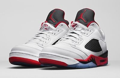 Nike Air Jordan 5 Retro Low Fire Red Size 9.5-11 White Fire Red Black (Jordan 5 Low White Fire Red Black)