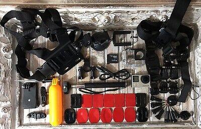 GoPro HERO4 Camcorder CHDHX-401 Black + Huge Lot of New Extras