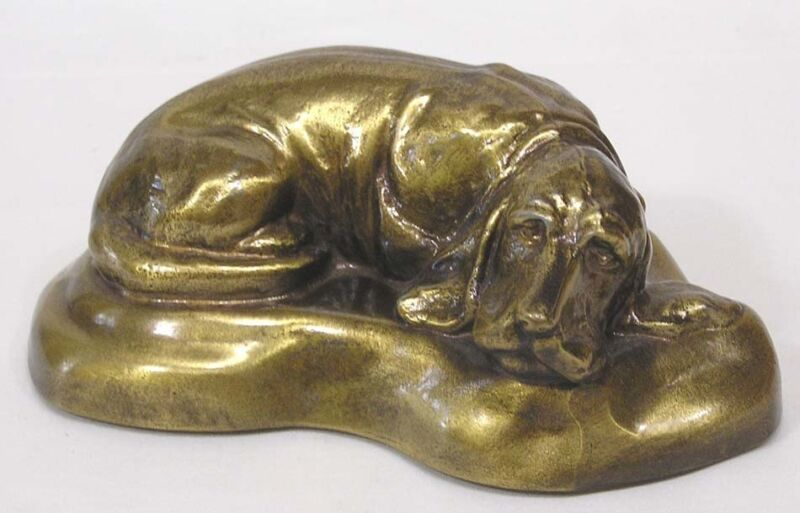 "Vintage Banthrico Reclining Dog Brass Bank 1974 Chicago 6"" Long"