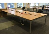 6 position office desk table bench workstation brown with cable tray Greasham