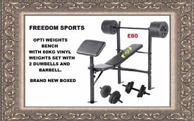 Opti Bench with curlpad plus 60kg vinyl Weights BRAND NEW BOXED RRP £64.99