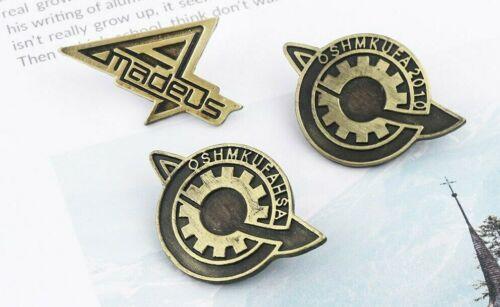"Steins Gate Bronze Approx 1"" Metal Set Of 3 Pins"