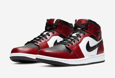 "Nike Air Jordan 1 Mid Casual Shoes ""Chicago Black Toe"" 554724-069 Men's NEW"