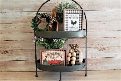 5 Piece Mini Farmers Market Sign Set / Tiered Tray Bowl Filler / Farmhouse