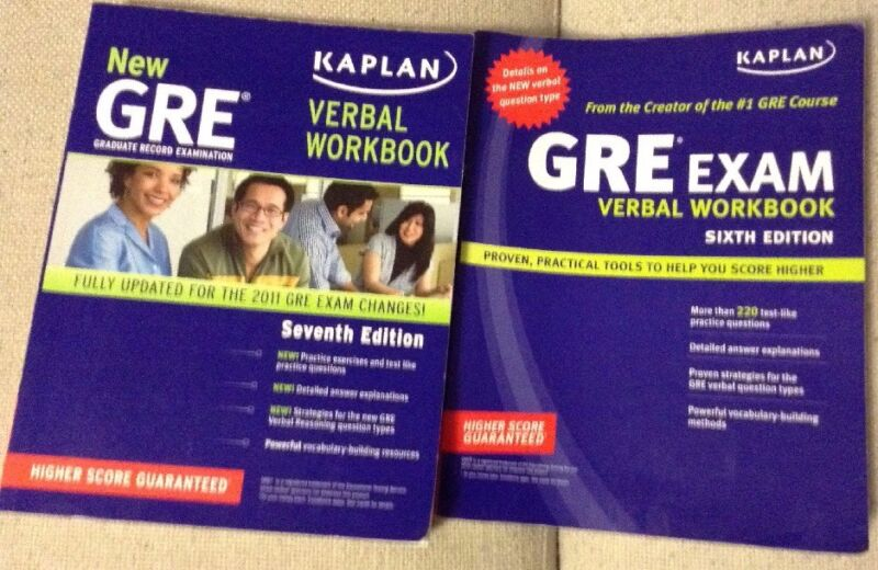 Kaplan GRE Exam Verbal Workbook Prep Practice Tests Study Guide 6th & 7th