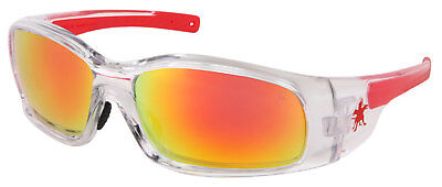 Crews Swagger Safety Glasses With Red Mirror Lens Clear Frame