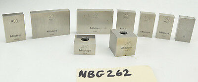 Mitutoyo Gage Block Lot 9pc .550 .8 .950 50mm 25mm 20mm
