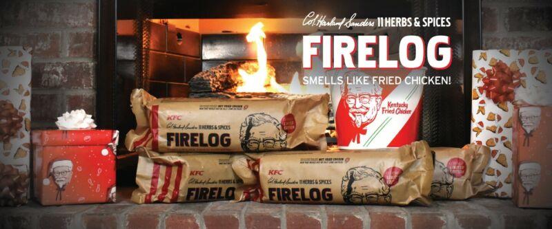 KFC FIRE LOG ENVIROLOG KENTUCKY FRIED CHICKEN 11 HERBS AND SPICES - FIRELOG NEW