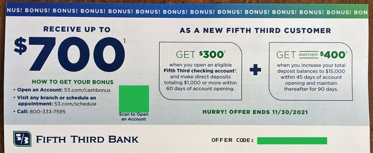 5/3 Fifth Third Bank Coupon 700 Bonus With New Checking Account Exp. 11/30/21 - $10.00