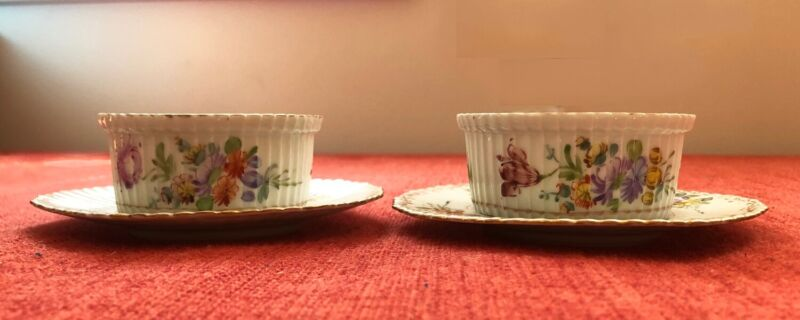 Set of 2 Antique hand painted FRANZISKA HIRSCH DRESDEN Ramekins with Saucers