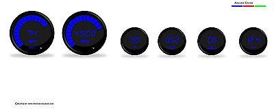 Intellitronix Complete Digital 6 Gauge Set Blue LEDs W Senders Black Bezel USA!