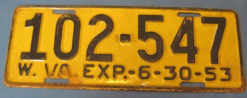 1953 West Virginia License Plate nice original
