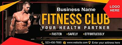 Fitness Club Banner Workout Gym Custom W Text Advertising Business Sign 18x4